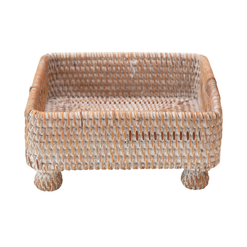 Hand-Woven Rattan Napkin Holder, Whitewashed Default Title