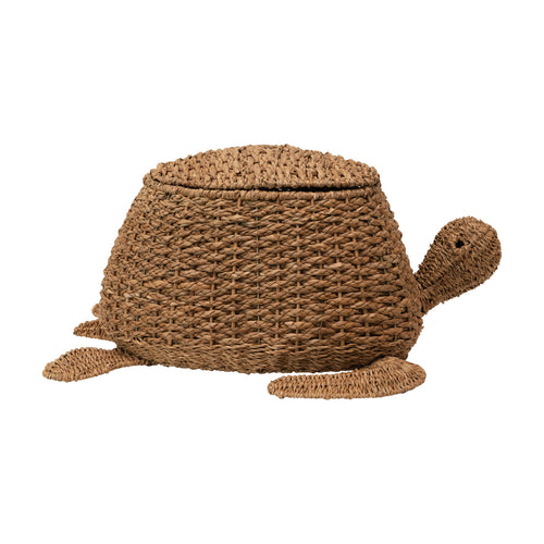 Hand-Woven Bankuan Sea Turtle Basket with Lid, Natural Default Title