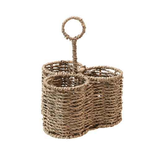 Woven Seagrass Caddy with 3 Sections Default Title