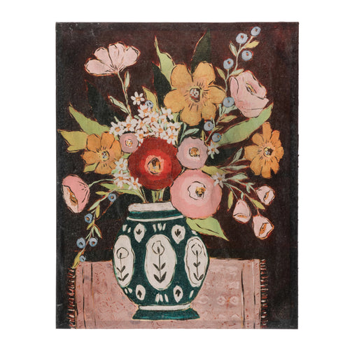 MDF & Canvas Wall Décor with Flowers in Vase, Multi Color © Default Title