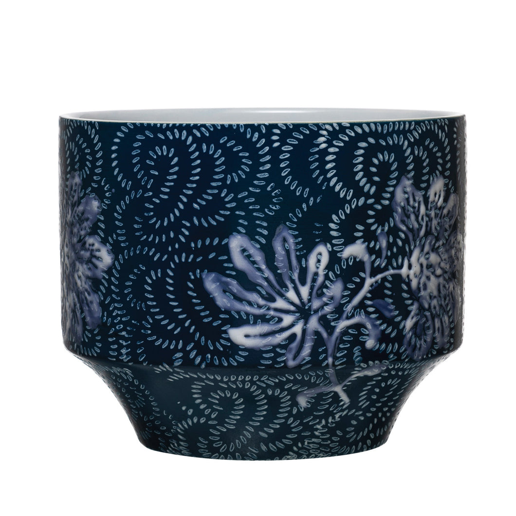 Stoneware Planter with Floral Pattern, Blue & White (Holds 4