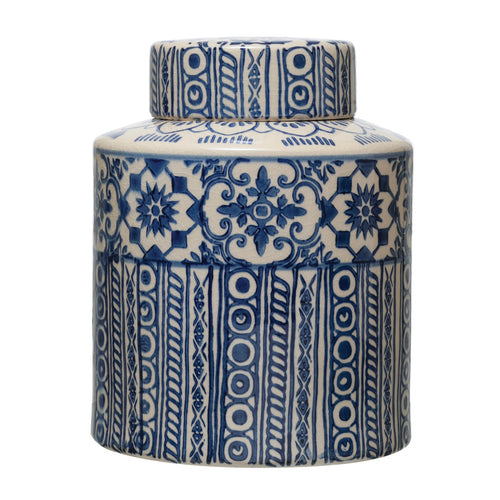 Decorative Stoneware Ginger Jar with Pattern, Blue & Cream Color Default Title