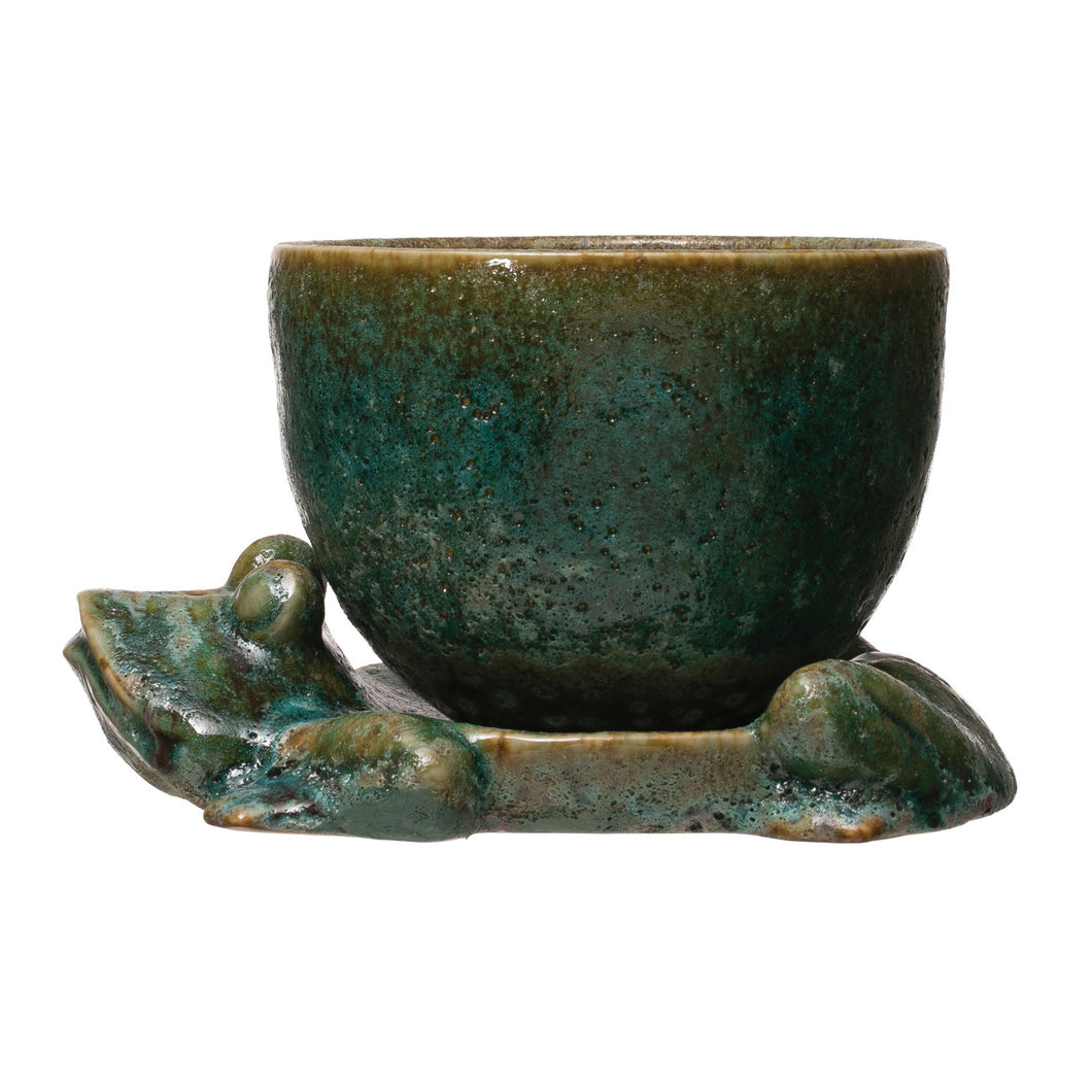 Stoneware Planter with Frog Base, Reactive Glaze, Green, Set of 2 (Each One Will Vary) (Holds 5
