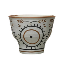 "Load image into Gallery viewer, Hand-Painted Terra-cotta Planter, White & Black (Holds 8"" Pot) Default Title"