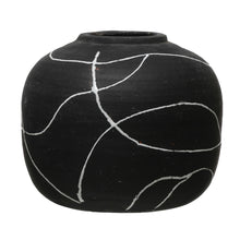 Load image into Gallery viewer, Hand-Painted Terra-cotta Vase, Black & White Default Title
