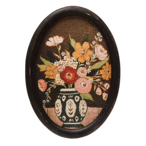 Oval MDF Framed Wall Décor with Flowers in Vase, Multi Color © Default Title