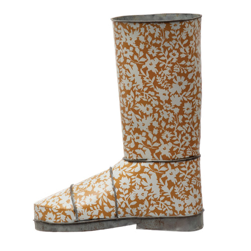 Decorative Metal Garden Boot with Floral Pattern, Mustard Color & White © Default Title