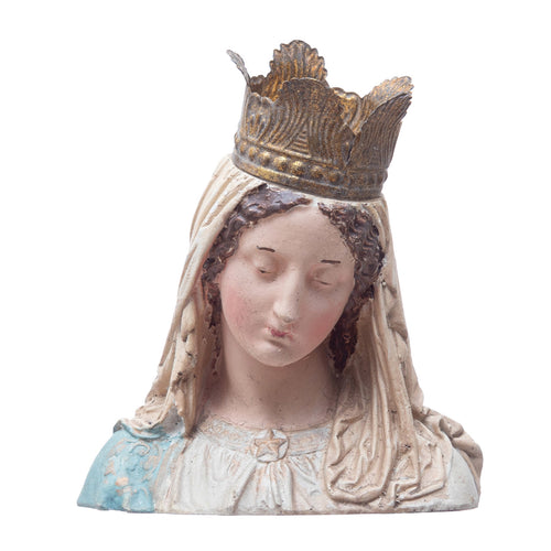Hand-Painted Magnesia Vintage Reproduction Virgin Mary Bust with Removable Crown Default Title