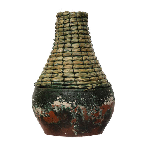 Hand-Woven Rattan & Clay Vase, Distressed Black (Each One Will Vary) Default Title