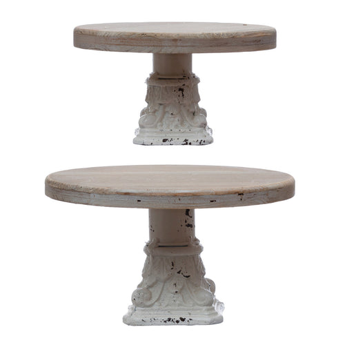 Decorative Wood & Metal Pedestals, Distressed White & Natural, Set of 2 Default Title