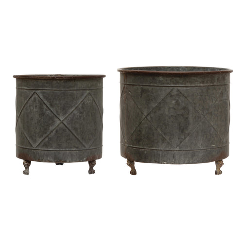 Embossed Metal Footed Planters, Distressed Grey Finish, Set of 2 (Holds 14