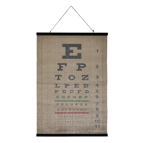 Canvas & Wood Eye Chart Scroll Wall Décor with Jute Rope Hanger Default Title