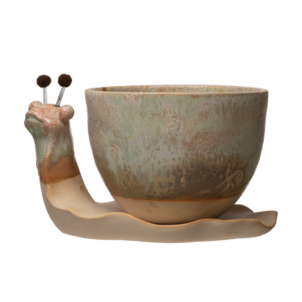 Stoneware Snail Planter, Reactive Glaze, Set of 2 (Each One Will Vary) Default Title