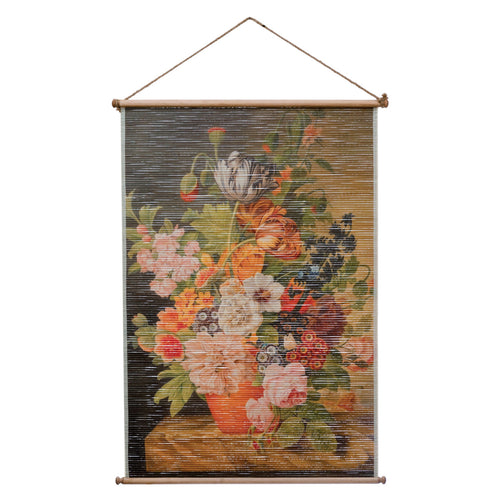Printed Bamboo Scroll Wall Décor with Vintage Reproduction Florals Image, Natural Default Title