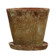 "Load image into Gallery viewer, Cement Planter with Saucer, Distressed Terra-cotta Finish, Set of 2 (Holds 8"" Pot) Default Title"