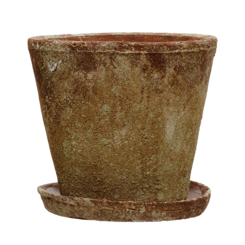 Cement Planter with Saucer, Distressed Terra-cotta Finish, Set of 2 (Holds 8