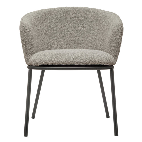 Bouclé Fabric Upholstered Chair with Black Metal Legs, Taupe, KD Default Title