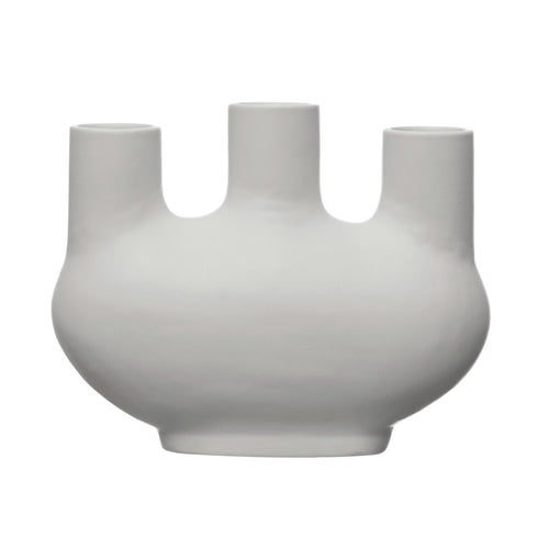 Stoneware Vase with 3 Openings, Matte White Default Title
