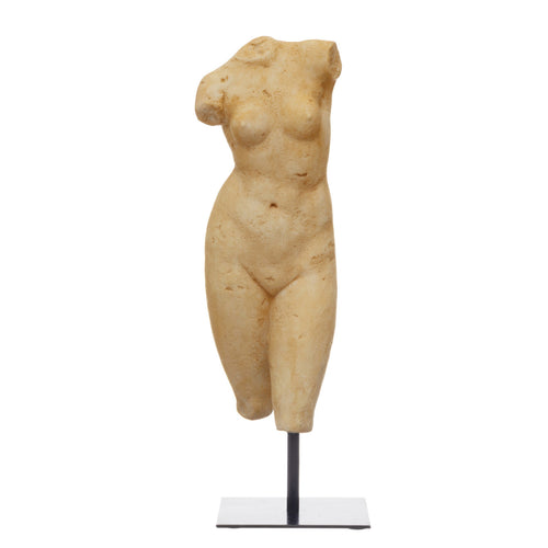 Resin Female Body Figure on Metal Stand, Plaster Finish Default Title