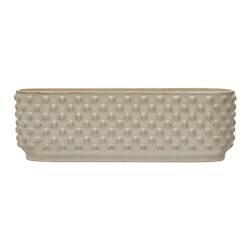 Stoneware Hobnail Window Planter with 3 Sections, Reactive Glaze, White (Each One Will Vary) Default Title