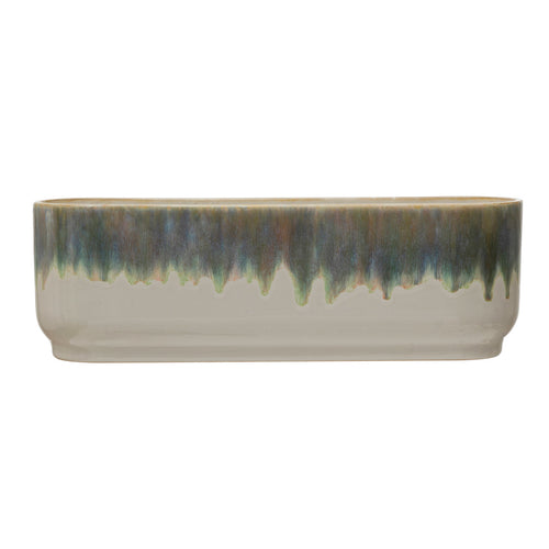 Stoneware Window Planter with 3 Sections, Reactive Glaze, Blue & White (Each One Will Vary) Default Title