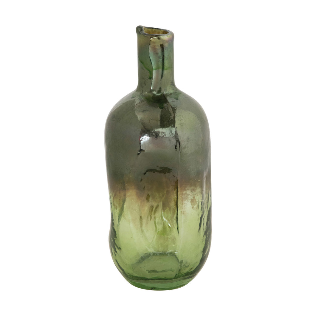 Hand-Blown Recycled Glass Organic Shaped Bottle Vase, Green Iridescent Opal Finish (Each One Will Vary) Default Title