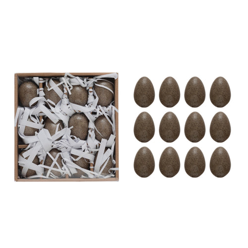 Stoneware Eggs, Brown Reactive Glaze, Boxed Set of 12 (Each One Will Vary) Default Title