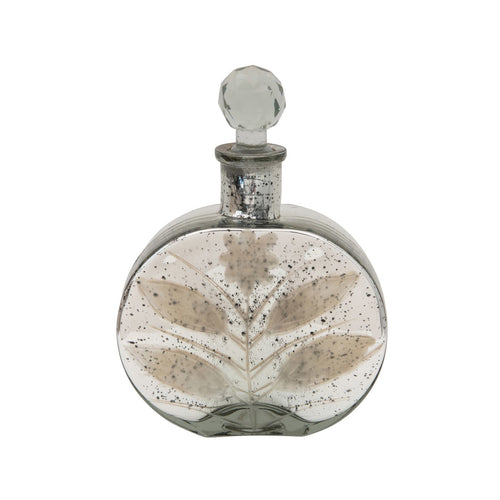 Decorative Mercury Glass Bottle with Crystal Stopper Default Title