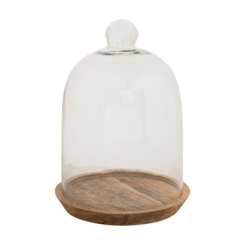 Glass Cloche with Mango Wood Base, Set of 2 Default Title