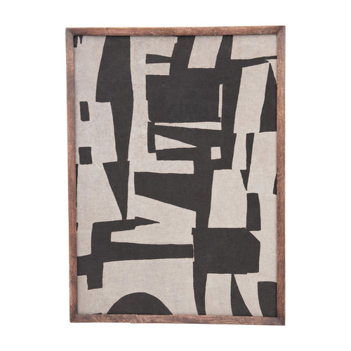 Mango Wood Framed Cotton Fabric Wall Décor with Abstract Print, Black & Cream Color Default Title