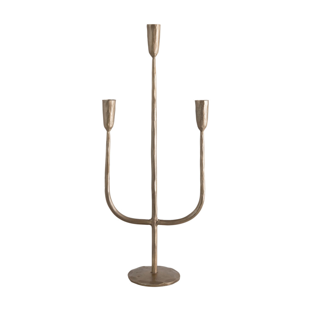Hand-Forged Metal Candelabra, Antique Brass Finish (Holds 3 Taper Candles) Default Title