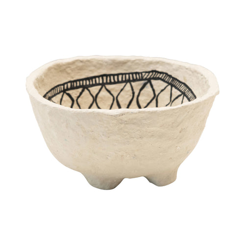 Decorative Hand-Painted Paper Mache Bowl with Black Pattern Default Title