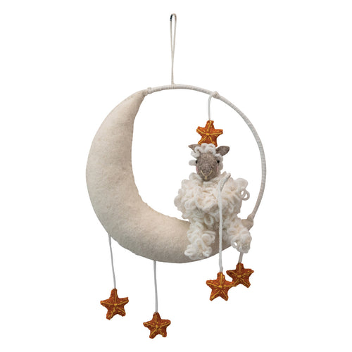 Wool Moon & Stars Mobile/Wall Hanging with Sheep, Cream & Yellow Default Title