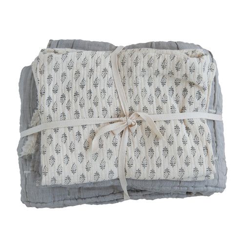Cotton Stitched Bed Cover with 2 Patterned King Shams, King, Cream Color & Grey, Set of 3 Default Title