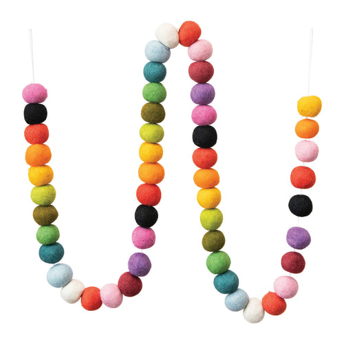 Wool Felt Ball Garland, Multi Color Default Title