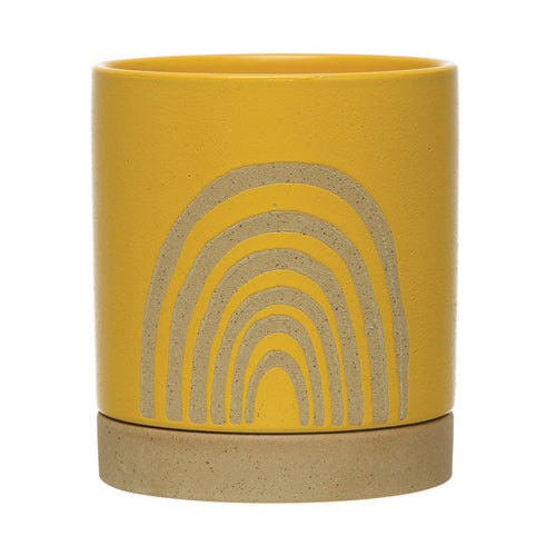 Stoneware Planter with Saucer & Rainbow, Yellow, Set of 2 (Holds 5
