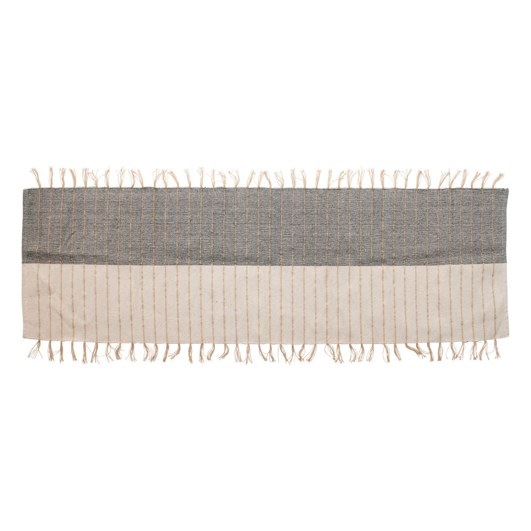 Cotton Floor Runner with Jute Fringe, Blue & Natural Default Title
