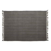 Load image into Gallery viewer, Brushed Cotton Throw with Stripes & Fringe, Blue & Grey Default Title