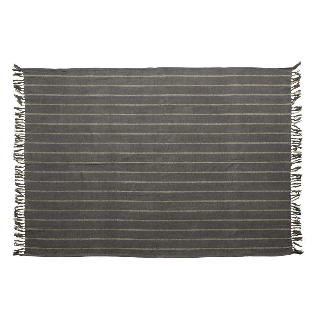 Brushed Cotton Throw with Stripes & Fringe, Blue & Grey Default Title
