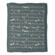 Load image into Gallery viewer, Cotton Knit Baby Blanket with Fish, Blue Default Title