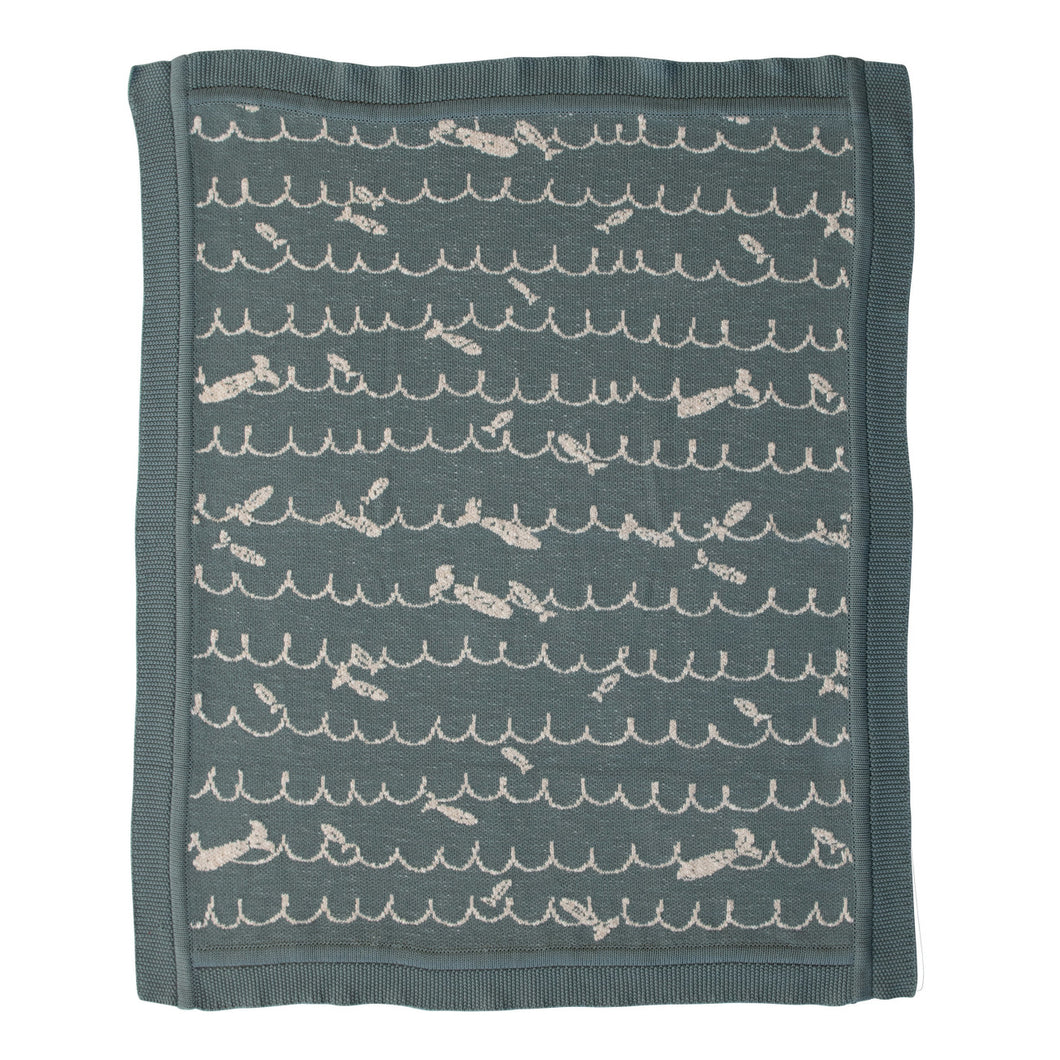 Cotton Knit Baby Blanket with Fish, Blue Default Title