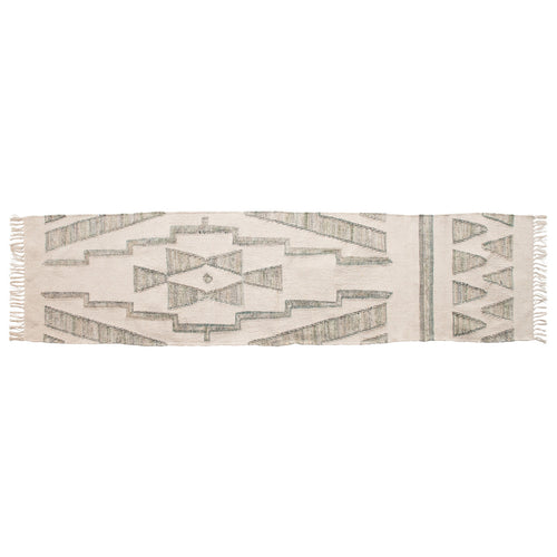 Hand-Woven Cotton & Wool Kilim Floor Runner, Variegated Green & Cream Color Default Title