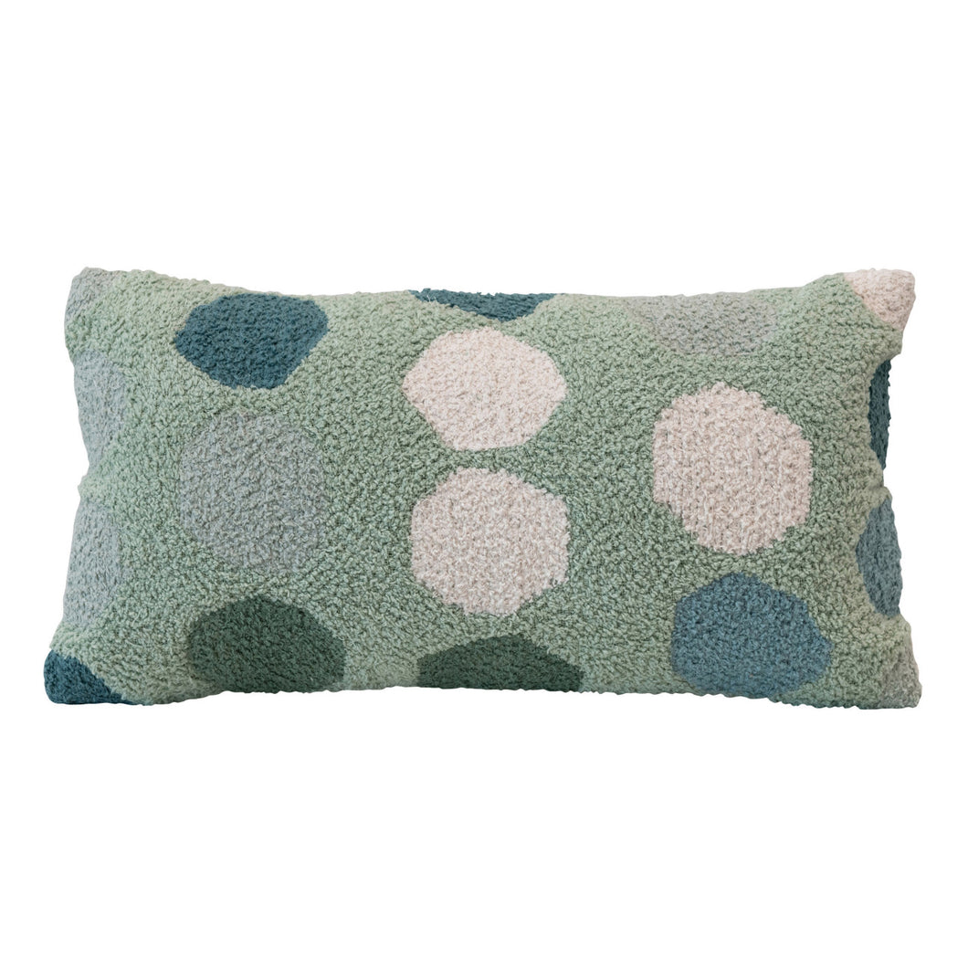 Woven Cotton Lumbar Pillow with Dots, Multi Color Default Title