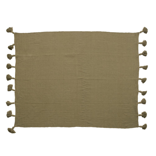 Woven Cotton Throw with Oversized Tassels, Olive Color Default Title