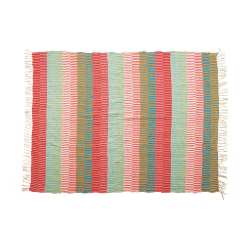 Woven Recycled Cotton Blend Striped Throw with Tassels, Multi Color Default Title