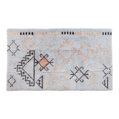 Hand-Woven Wool Blend Tufted Rug with Abstract Design, Multi Color Default Title