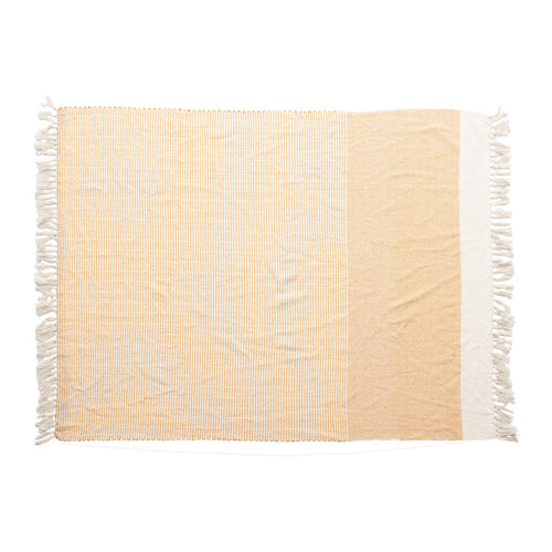 Woven Recycled Cotton Blend Throw with Tassels, Yellow & Cream Color Default Title
