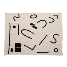Load image into Gallery viewer, Cotton Blend Throw with Abstract Print & Frayed Edges, Cream Color & Black Default Title