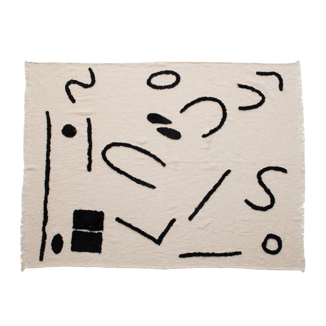 Cotton Blend Throw with Abstract Print & Frayed Edges, Cream Color & Black Default Title