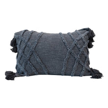 Load image into Gallery viewer, Stonewashed Cotton Blend Slub Pillow with Tufted Chevron Pattern & Tassels, Blue Default Title